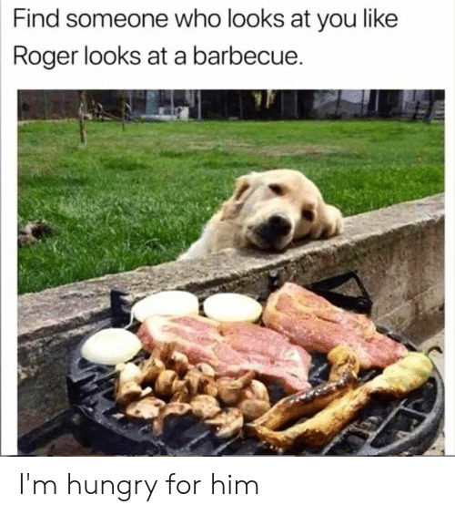 Dank, Hungry, and Roger: Find someone who looks at you like  Roger looks at a barbecue. I'm hungry for him