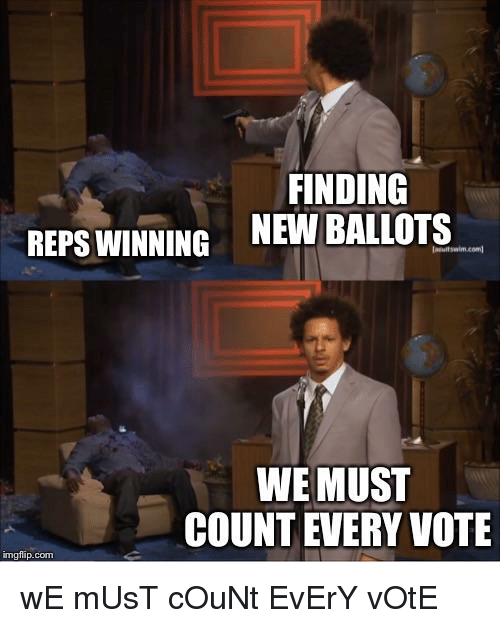 Com, New, and Vote: FINDING  NEW BALLOTS  REPS WINNING  WE MUST  COUNT EVERY VOTE  mgflip.com