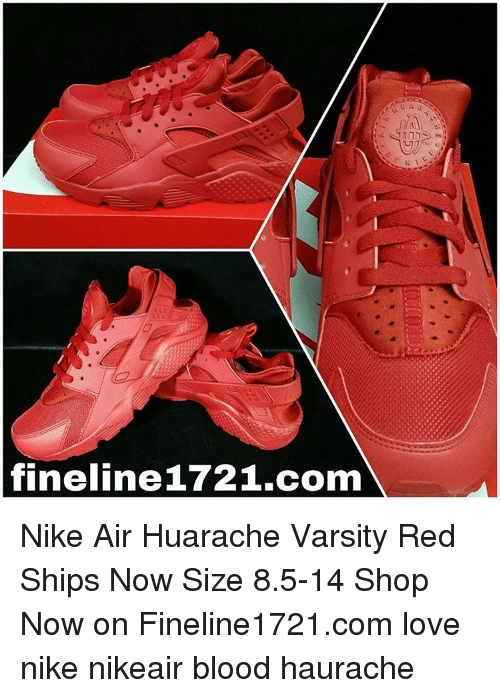 cb6a5152aae3 Fineline 1721com 10D Nike Air Huarache Varsity Red Ships Now Size 85 ...