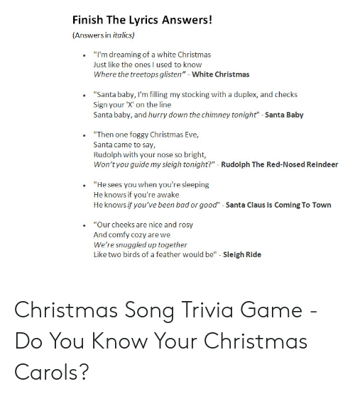 White Christmas Lyrics.Finish The Lyrics Answers Answers In Italics I M Dreaming