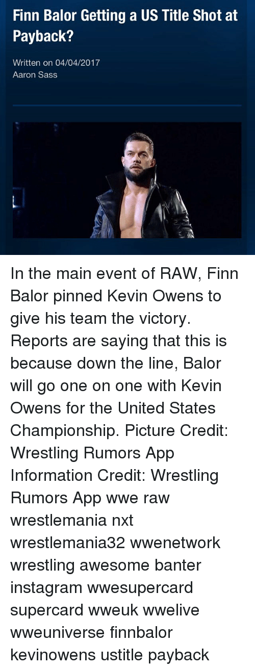 Finn Balor Getting a US Title Shot at Payback? Written on 04042017