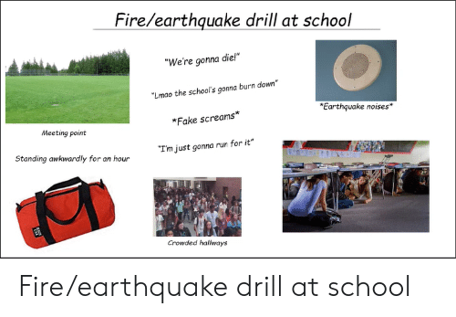 """Fake, Fire, and Lmao: Fire/earthquake drill at school  """"We're gonna die!""""  Lmao the school's gonna burn down""""  Earthquake noises*  *Fake screams*  Meeting point  Standing awkwardly for an hour  """"I'm just gonna run for it""""  Crowded hallways Fire/earthquake drill at school"""