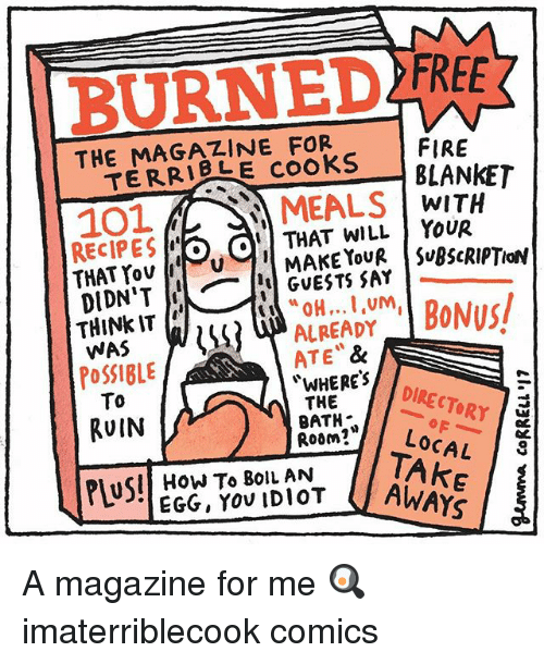 Fire, Memes, and How To: FIRE  THE MAGAZINE FOR  TERRI E cooks  101 LMEALS WITH  RECIPES o OTHAT WILLYOUR  THINk IT  WAS  PoSSIBLE  To  ALREADY  ATE &  WHERES  THE  BATH*  Room?Loc  RUIN  LOCAL  I TAKE  SII HOW To 8olL AN  AWAYS A magazine for me 🍳 imaterriblecook comics