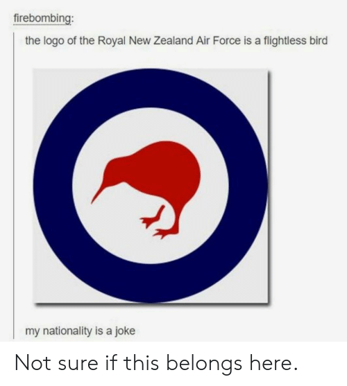 Air Force, New Zealand, and Logo: firebombing:  the logo of the Royal New Zealand Air Force is a flightless bird  my nationality is a joke Not sure if this belongs here.