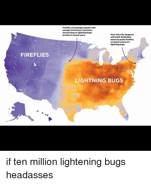 Memes, New York, and Lightning: Firefiies, increasingly popular with  younger Americans, have been  encroaching on ightning bugs'  territory in recent years.  New York City disagrees  with itself. Manhattan  seems to prefer fireflies  on Staten Island, it's  ightning bugs.  FIREFLIES  LIGHTNING BUGS if ten million lightening bugs headasses