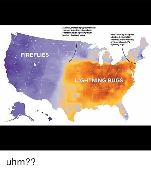 New York, Tumblr, and Lightning: Fireflies, increasingly popular with  younger Americans, have been  encroaching on Nightning bugs  territory in recent years.  New York City disagrees  withitself. Manhattan  seems to prefer firetties;  on Staten Island, its  lightning bugs.  FIREFLIES  LIGHTNING BUGS uhm??