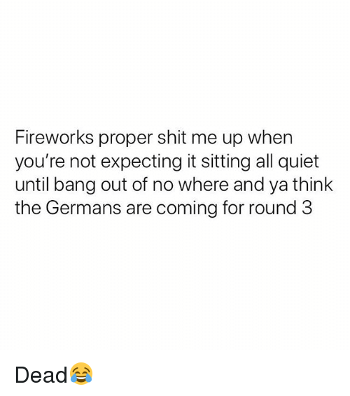 Shit, Fireworks, and Quiet: Fireworks proper shit me up when  you're not expecting it sitting all quiet  until bang out of no where and ya think  the Germans are coming for round 3 Dead😂
