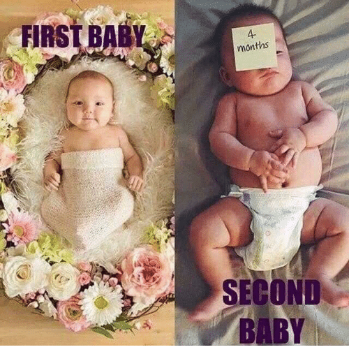 Memes, Baby, and 🤖: FIRST BAB  A-  months  SECOND  BABY