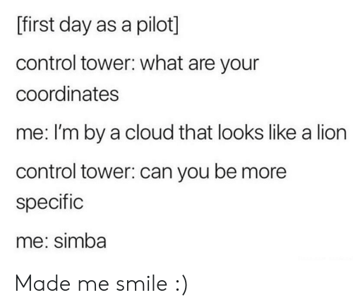 Control, Cloud, and Lion: [first day as a pilot]  control tower: what are your  coordinates  me: I'm by a cloud that looks like a lion  control tower: can you be more  specific  me: simba Made me smile :)