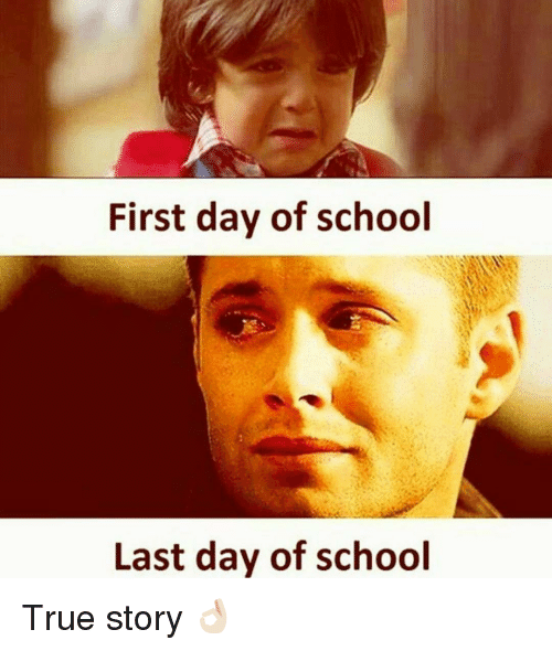 School, True, and True Story: First day of school  Last day of school True story 👌🏻