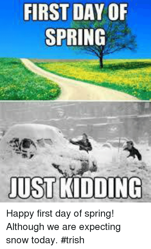 Snow On First Day Of Spring Makes Me >> First Day Of Spring Just Kidding Happy First Day Of Spring Although