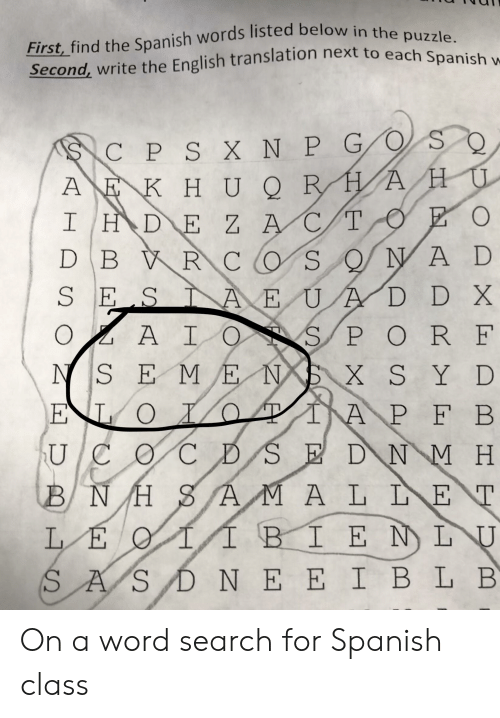 First Find the Spanish Words Listed Below in the Puzzle