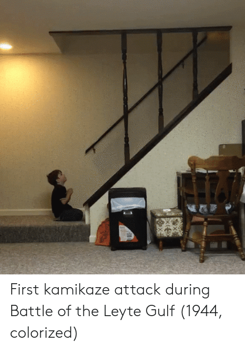 First, Kamikaze, and Battle: First kamikaze attack during Battle of the Leyte Gulf (1944, colorized)