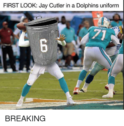 Jay, Nfl, and Jay Cutler: FIRST LOOK: Jay Cutler in a Dolphins uniform BREAKING