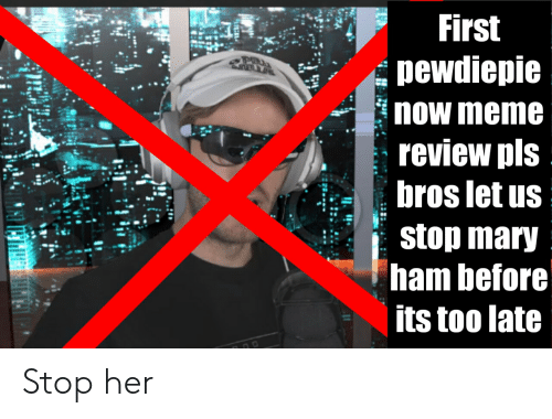 Meme, Her, and Ham: First  POU  pewdiepie  now meme  review pls  bros let us  stop mary  ham before  its too late Stop her
