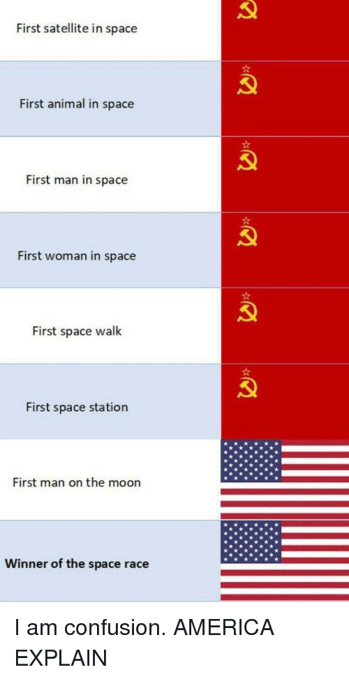 America, Animal, and Moon: First satellite in space  First animal in space  First man in space  First woman in space  First space walk  First space station  First man on the moon  Winner of the space race I am confusion. AMERICA EXPLAIN