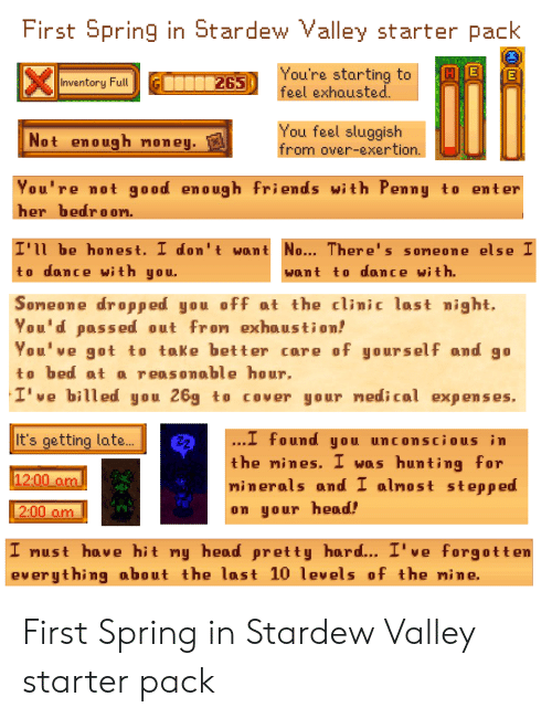 First Spring in Stardew Valley Starter Pack You're Starting