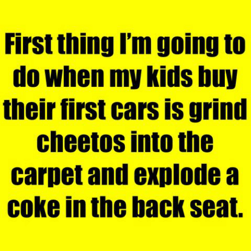 Cars, Cheetos, and Dank: First thing I'm going to  do when my kids buy  their first cars is grind  cheetos into the  carpet and explode a  coke in the back seat.