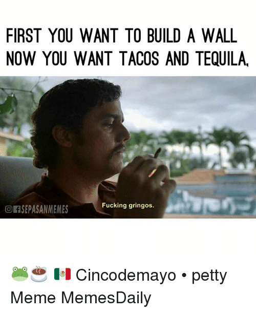 Fucking, Meme, and Memes: FIRST YOU WANT TO BUILD A WALL  NOW YOU WANT TACOS AND TEQUILA  Fucking gringos.  or SEPASANMEMES 🐸☕ 🇲🇽 Cincodemayo • petty Meme MemesDaily