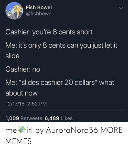 Dank, Memes, and Target: Fish Bowel  @fishbowel  Cashier: you're 8 cents short  Me: it's only 8 cents can you just let it  slide  Cashier: no  Me: *slides cashier 20 dollars what  about now  12/17/18, 2:52 PM  1,009 Retweets 6,489 Likes me💸irl by AuroraNora36 MORE MEMES