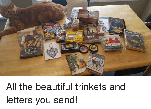 Memes, 🤖, and Trinket: FISHERS  Treats All the beautiful trinkets and letters you send!