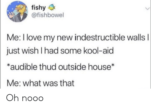 Kool Aid, Love, and House: fishy  @fishbowel  Me: I love my new indestructible wallsI  just wish I had some kool-aid  *audible thud outside house*  Me: what was that Oh nooo