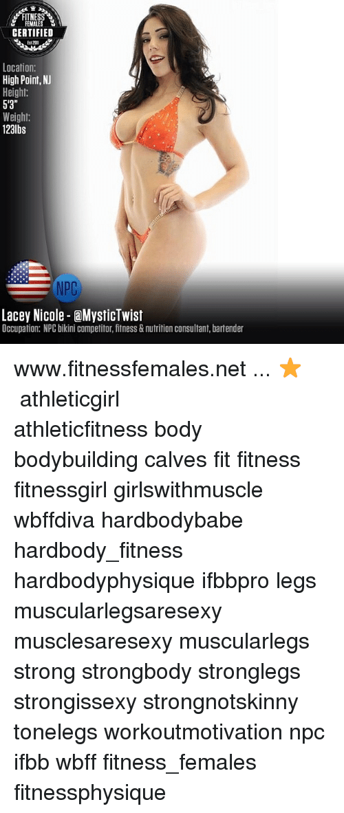 FITNESS M FEMALES CERTIFIED Location High PointNJ Height 5\'3 ...