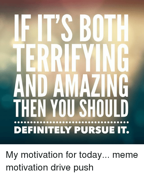 Definitely, Meme, and Memes: FITS BOTH  TERRIFYING  AND AMAZING  THEN YOU SHOULD  DEFINITELY PURSUE IT. My motivation for today... meme motivation drive push