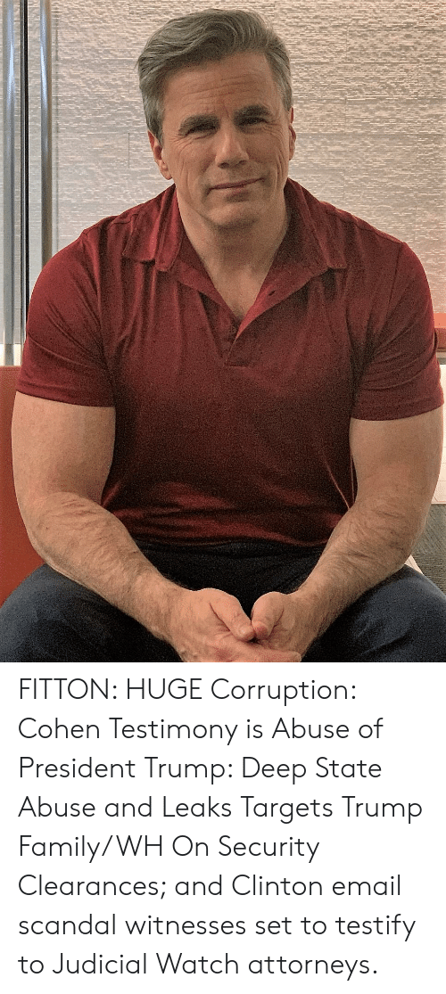 Family, Email, and Scandal: FITTON: HUGE Corruption: Cohen Testimony is Abuse of President Trump: Deep State Abuse and Leaks Targets Trump Family/WH On Security Clearances; and Clinton email scandal witnesses set to testify to Judicial Watch attorneys.