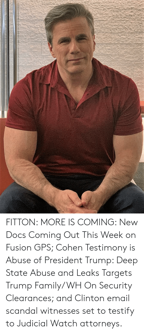 Family, Gps, and Email: FITTON: MORE IS COMING: New Docs Coming Out This Week on Fusion GPS; Cohen Testimony is Abuse of President Trump: Deep State Abuse and Leaks Targets Trump Family/WH On Security Clearances; and Clinton email scandal witnesses set to testify to Judicial Watch attorneys.