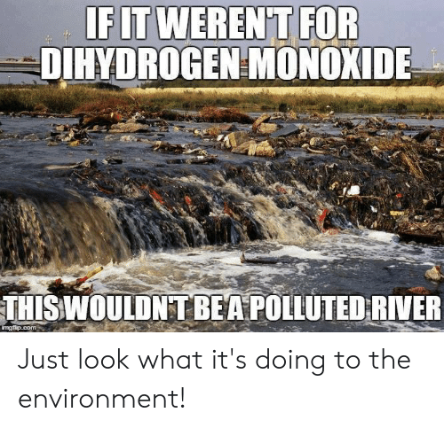 Memes, 🤖, and River: FITWEREN'T FOR  DIHYDROGEN MONOXIDE  THISWOULDNT BEA POLLUTED RIVER Just look what it's doing to the environment!