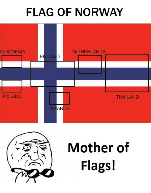 Indonesia, Netherlands, and Norway: FLAG OF NORWAY  INDONESIA  NETHERLANDS  POLAND  THAILAND  Mother of  Flags!