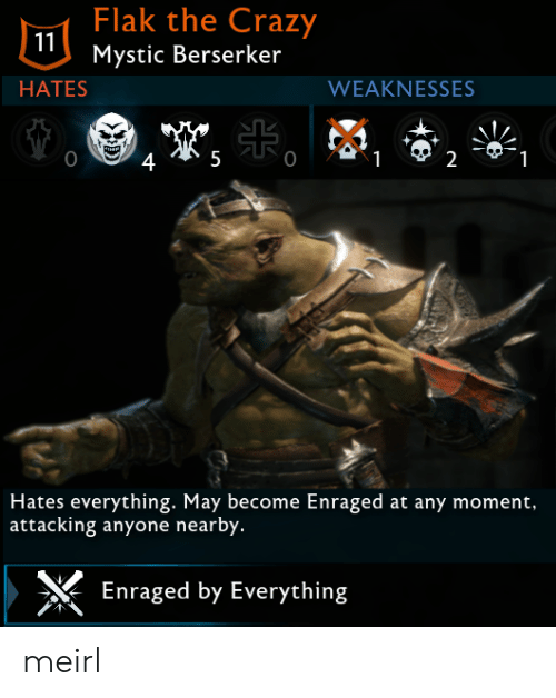 Crazy, MeIRL, and Berserker: Flak the Crazy  Mystic Berserker  HATES  WEAKNESSES  0  2  Hates everything. May become Enraged at any moment,  attacking anyone nearby.  Enraged by Everything meirl