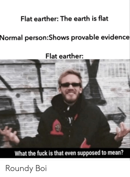 Reddit, Earth, and Fuck: Flat earther: The earth is flat  Normal person:Shows provable evidence  Flat earther:  What the fuck is that even supposed to mean? Roundy Boi