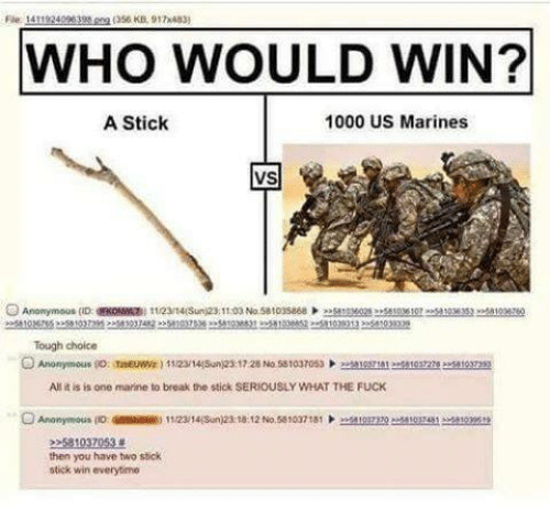 Fucking, Memes, and Anonymous: Fle: 14119240  WHO WOULD WIN?  A Stick  1000 US Marines  VS  Tough choice  All it is is one marine to break the stick SERIOUSLY WHAT THE FUCK  O Anonymous  11/23 Sun)23:18:12 No.58103718  then you have two stick  stick win everytime