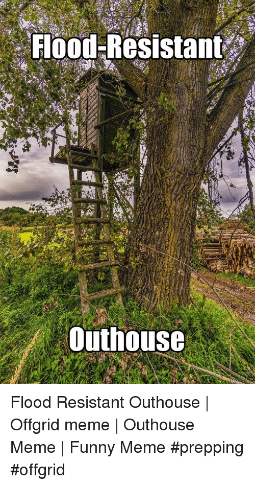 Funny, Meme, and Meme Funny: Flood Resistant  Outhouse Flood Resistant Outhouse | Offgrid meme | Outhouse Meme | Funny Meme #prepping #offgrid