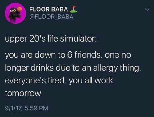 Dank, Friends, and Life: FLOOR BABA  @FLOOR BABA  upper 20's life simulator:  you are down to 6 friends. one no  longer drinks due to an allergy thing.  everyone's tired. you all work  tomorrow  9/1/17, 5:59 PM