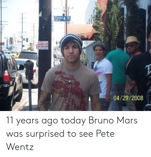 Bruno Mars, Mars, and Pete Wentz: Flores  FOR RENT  04/29/2008 11 years ago today Bruno Mars was surprised to see Pete Wentz