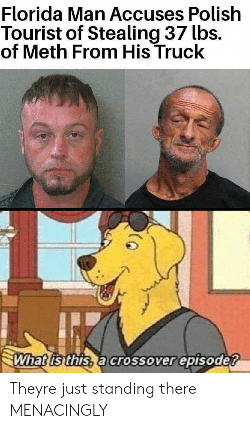 Florida Man, Florida, and What Is: Florida Man Accuses Polish  Tourist of Stealing 37 lbs.  of Meth From His Truck  What is this, a crossover episode? Theyre just standing there MENACINGLY