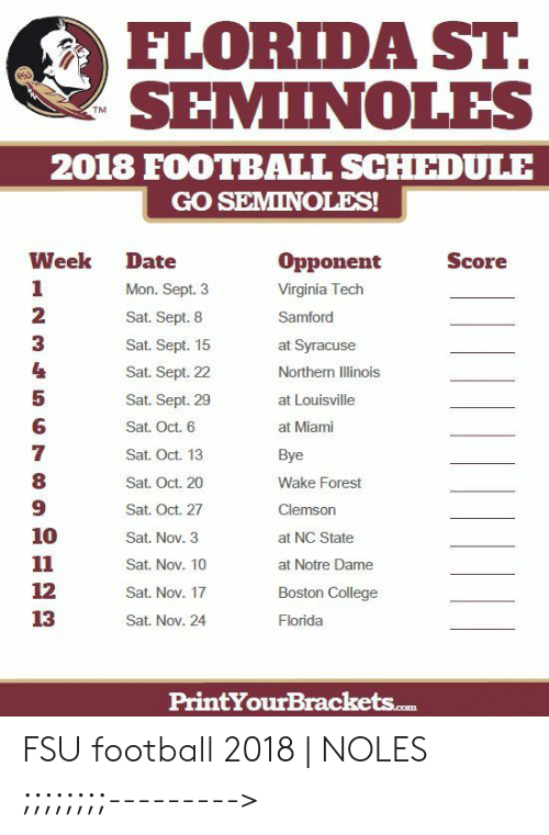 FLORIDA ST SEMINOLES TM 2018 FOOTBALL SCHEDULE GO SEMINOLES