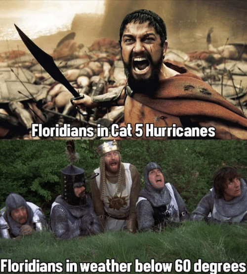 Weather, Cat, and Hurricanes: Floridians in Cat 5 Hurricanes  Floridians in weather below 60 degrees