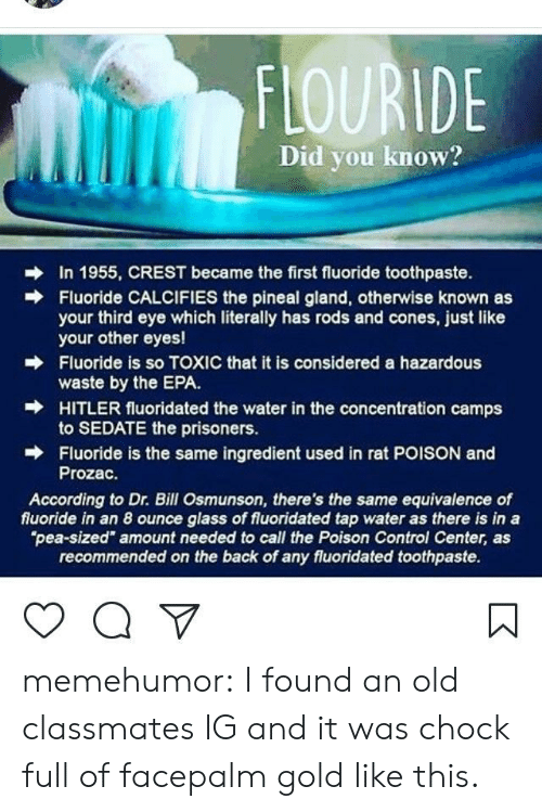 """Facepalm, Tumblr, and Control: FLOURIDE  Did you know?  In 1955, CREST became the first fluoride toothpaste.  Fluoride CALCIFIES the pineal gland, otherwise known as  your third eye which literally has rods and cones, just like  your other eyes!  Fluoride is so TOXIC that it is considered a hazardous  waste by the EPA.  HITLER fluoridated the water in the concentration camps  to SEDATE the prisoners.  Fluoride is the same ingredient used in rat POISON and  Prozac.  →  According to Dr. Bill Osmunson, there's the same equivalence of  fluoride in an 8 ounce glass of fluoridated tap water as there is in a  pea-sized"""" amount needed to call the Poison Control Center, as  recommended on the back of any fluoridated toothpaste. memehumor:  I found an old classmates IG and it was chock full of facepalm gold like this."""