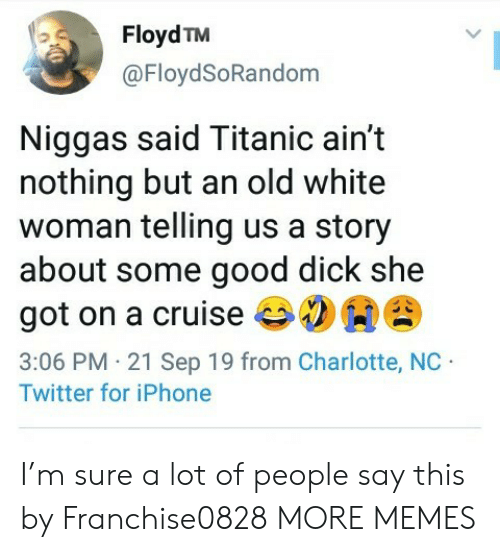 Dank, Iphone, and Memes: Floyd TM  @FloydSoRandom  Niggas said Titanic ain't  nothing but an old white  woman telling us a story  about some good dick she  got on a cruise  3:06 PM 21 Sep 19 from Charlotte, NC  Twitter for iPhone I'm sure a lot of people say this by Franchise0828 MORE MEMES
