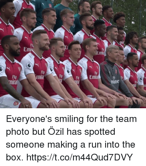 Boxing, Run, and Soccer: Flu  Emi  Em  Fly  tura  Fly  Fl  mate  lral Everyone's smiling for the team photo but Özil has spotted someone making a run into the box. https://t.co/m44Qud7DVY