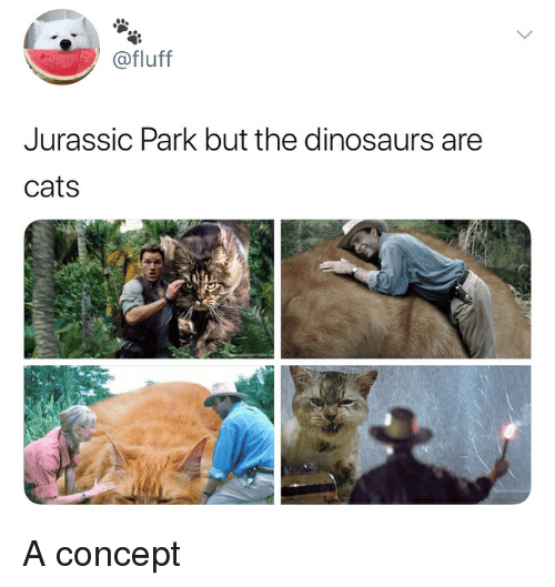 Cats, Jurassic Park, and Dinosaurs: @fluff  Jurassic Park but the dinosaurs are  cats A concept