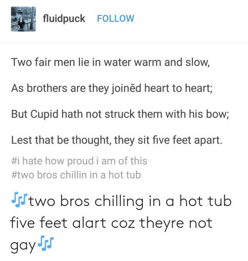 Cupid, Heart, and Water: fluidpuck FOLLOW  Two fair men lie in water warm and slow,  As brothers are they joined heart to heart,  But Cupid hath not struck them with his bow;  Lest that be thought, they sit five feet apart.  #1 hate how proud i am of this  #two bros chillin in a hot tub 🎶two bros chilling in a hot tub five feet alart coz theyre not gay🎶