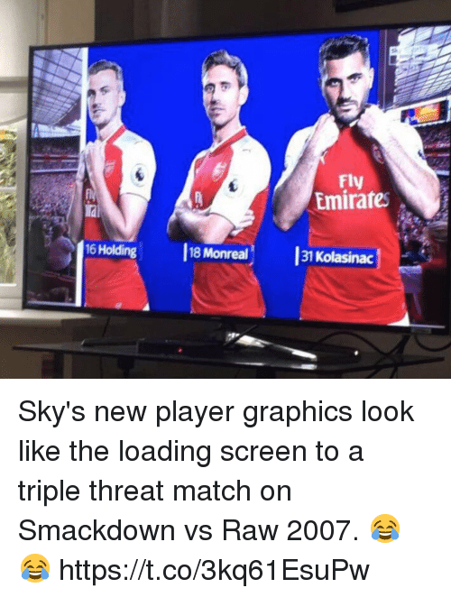 Soccer, Emirates, and Match: Fly  Emirates  iai  16 Holding  18 Monreal  31  Kolasinac Sky's new player graphics look like the loading screen to a triple threat match on Smackdown vs Raw 2007. 😂😂 https://t.co/3kq61EsuPw