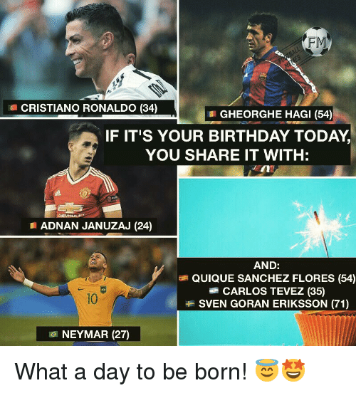 Birthday, Cristiano Ronaldo, and Memes: FM  CRISTIANO RONALDO (34)  GHEORGHE HAGI (54)  IF IT'S YOUR BIRTHDAY TODAY,  YOU SHARE IT WITH:  EIN  ADNAN JANUZAJ (24)  AND:  QUIQUE SANCHEZ FLORES (54)  CARLOS TEVEZ (35)  SVEN GORAN ERIKSSON (71)  10  101 NEYMAR (27) What a day to be born! 😇🤩
