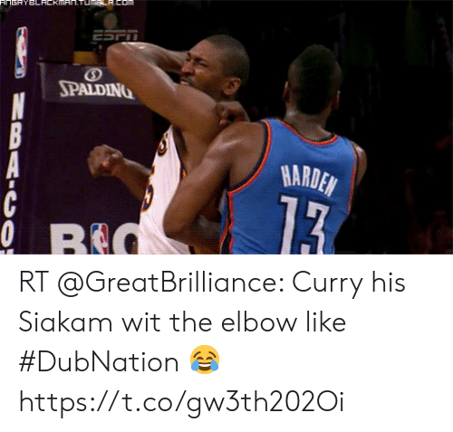 Memes, 🤖, and Curry: FnsRYBLACKAN.TUmsR.Com  ESPT  SPALDING  HARDEN  13  0 RE  BAIC O RT @GreatBrilliance: Curry his Siakam wit the elbow like #DubNation 😂 https://t.co/gw3th202Oi