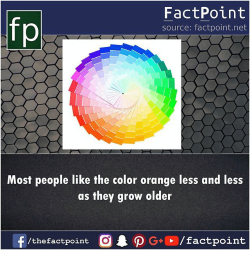 Memes, Orange, and 🤖: fo  FactPoint  source: factpoint.net  Most people like the color orange less and less  as they grow older  f/thefactpoint  G+/factpoint